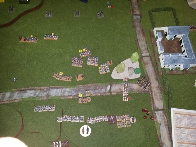 Still, some magnificent fire from the British lines has managed to dissolve the French columns and as the cavalry fracas on the British Right was still hanging, we decided that even should the French cavalry win, there would be nothing left of the centre