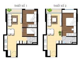 Thiết kế 1: 2 phòng ngủ, 1 phòng vệ sinh Thiết kế 2: 1 phòng ngủ, 1 phòng vệ sinh