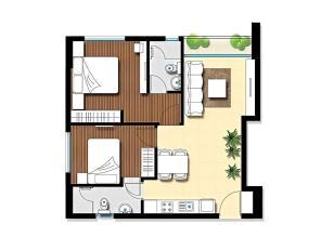 Căn hộ 65m2 ( từ tầng 6 đến tầng 21): 2 phòng ngủ, 2 phòng vệ sinh