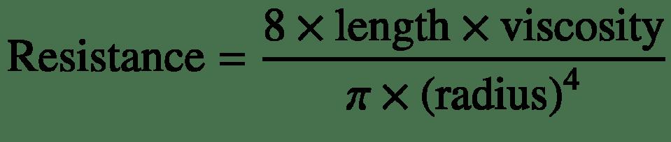 $$ \mathrm{Resistance}=\frac{8\times \mathrm{length}\times \mathrm{viscosity}}{\pi \times {\left(\mathrm{radius}\right)}^4} $$
