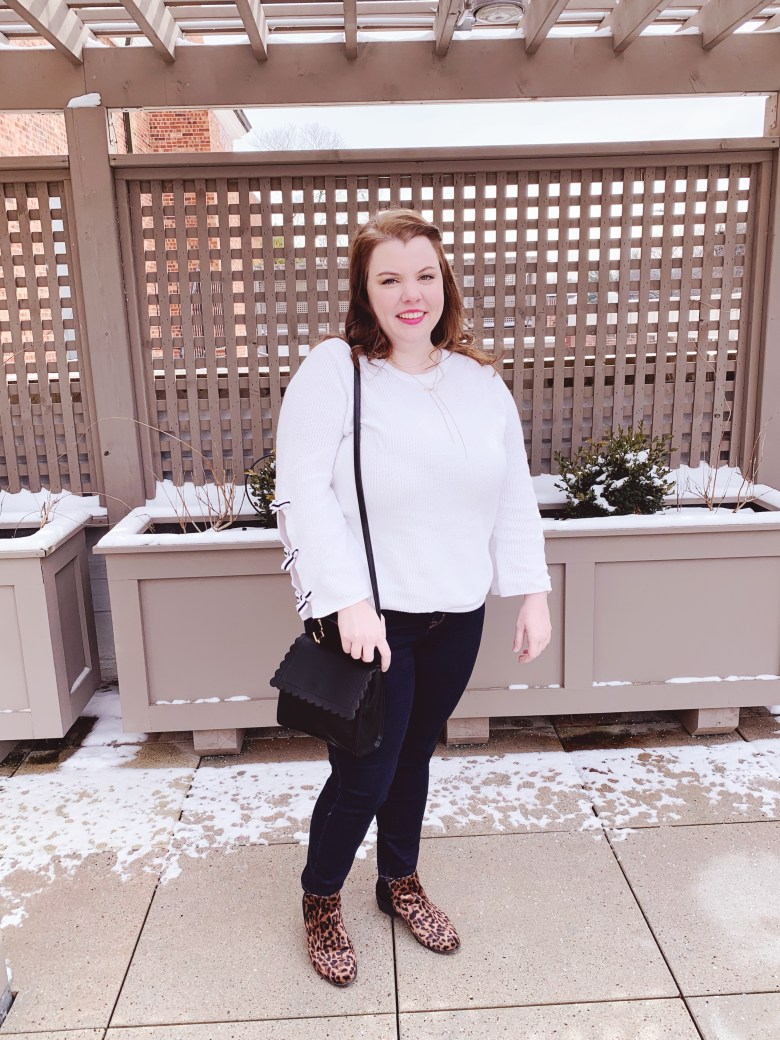 I love adding girly details to my outfits like bows, scallops, and animal print. Plus you can never go wrong with black and white. Here is an outfit perfect for taking you to the end of winter. #fashion #style #girlystyle #midsizefashion