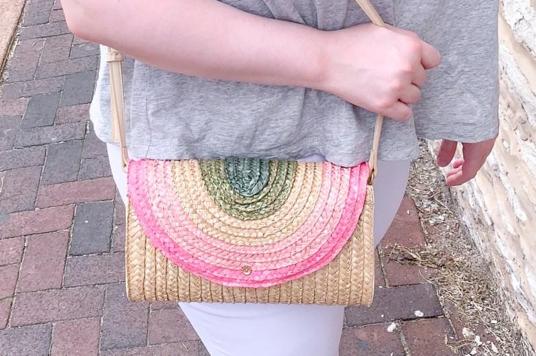 LC Lauren Conrad Rainbow Straw Bag