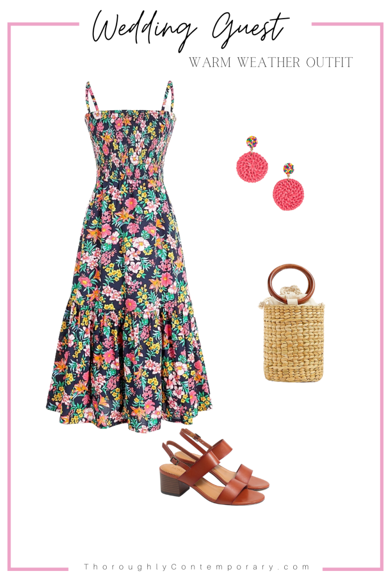 Floral Smocked Dress Wedding Guest Outfit Idea