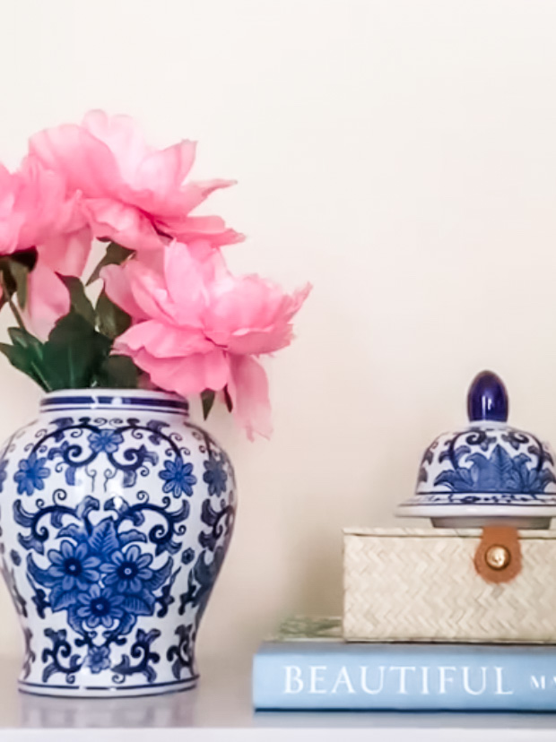 Blue and white ginger jar and coffee table book