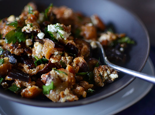 Roasted Eggplant Salad with Smoked Almonds & Goat Cheese (source)