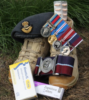 michelle-partington-medals-ptsd-medicine-for-depression-military-boots-beret-cap-badge-belt