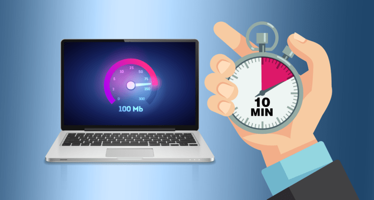 Laptop with a website speedometer at 100Mb and a hand holding a stopwatch at 10 minutes.