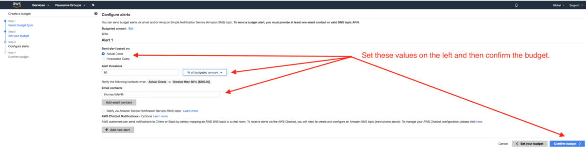 Arrows and instruction regarding how to AWS configure billing alerts.
