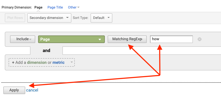 An example of regex usage in Google Analytics under Behavior -> Site Content -> All Pages -> Advanced Filter
