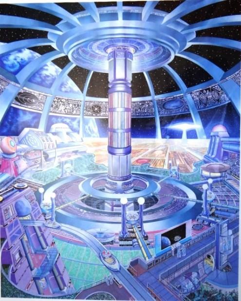 Concepção artística do interior de uma nave mãe da Federação em órbita da Terra (ao fundo) em outrosníveisde consciência, invisível aos nossos sentidos tridimensionais...
