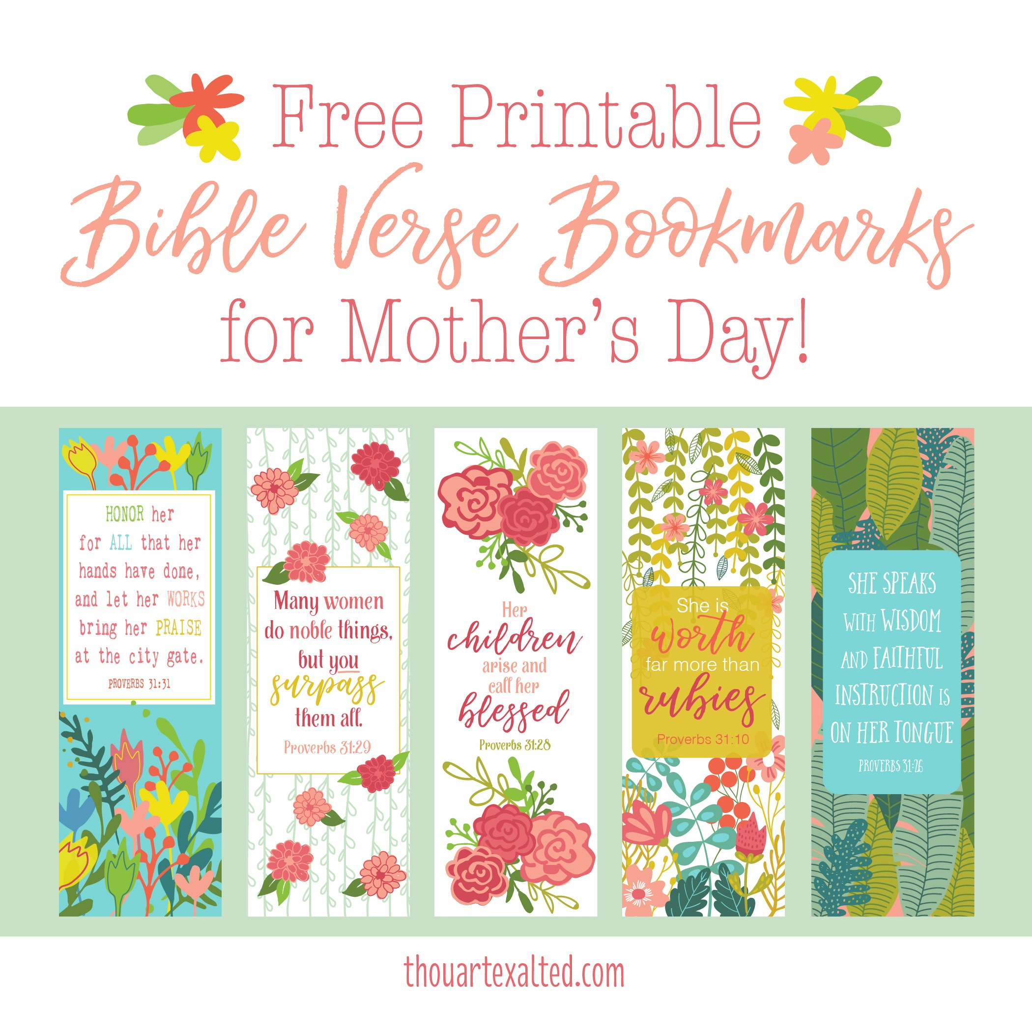 picture regarding Mother's Day Bookmarks Printable Free named Totally free Moms Working day Bookmarks ThouArtExalted