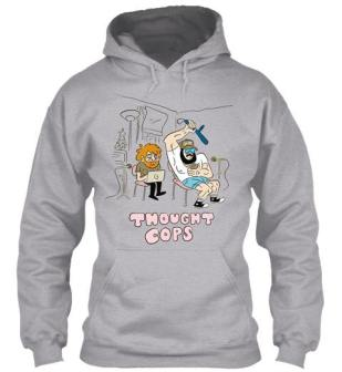 A Thought Cops podcast hoodie in grey available to purchase on our teespring store