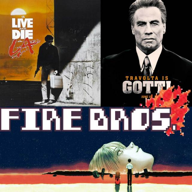Thumbnail for episode 9 of Thought Cops spinoff show Fire Bros featuring reviews of Neon Genesis Evangelion + The End of Evangelion, To Live and Die in LA, and Gotti