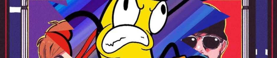 Ari Grabb's cartoon Bento Banana busts through an episode of Thought Cops