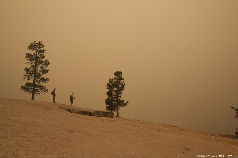 Top of Nevada Falls last year with smoke from the Rim Fire
