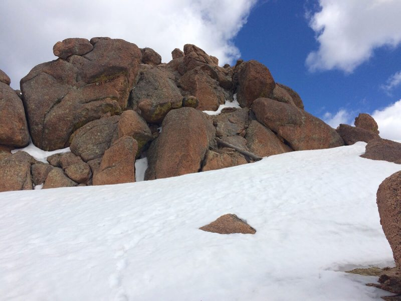 Last stretch before the summit (which is that pile of boulders)