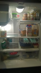 My fridge looks so much nicer when the shelves are clean and the contents are organized.