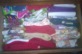 Pantry Linens: Folded, Sorted, and Placed Where I Can See Everything at a Glance (rather than stacked in piles)
