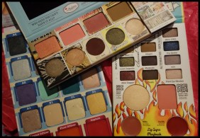To show the size difference between the three palettes. Eyeshadows are 28.8g in the Balm Voyage (Left), 7g in The Balm of Your Hand (Top) and 10.8g in Balm Jovi (Right)