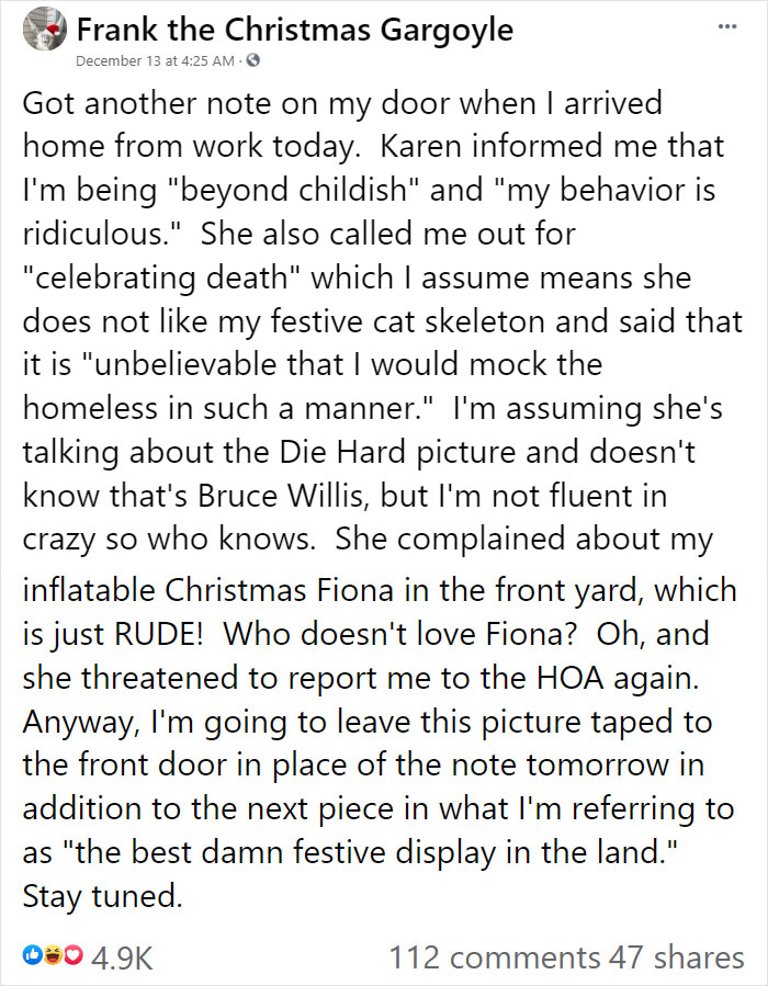 """karen"" keeps leaving notes complaining about woman's decorations, woman responds by adding even more"