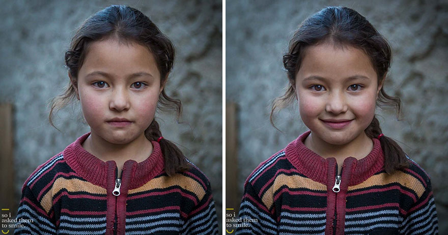10 pics of people before and after they were asked to smile