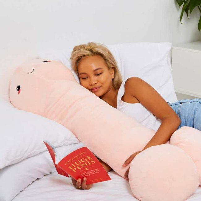 you can now get yourself four-foot penis-shaped pillow, and it's adorably cute and cuddly