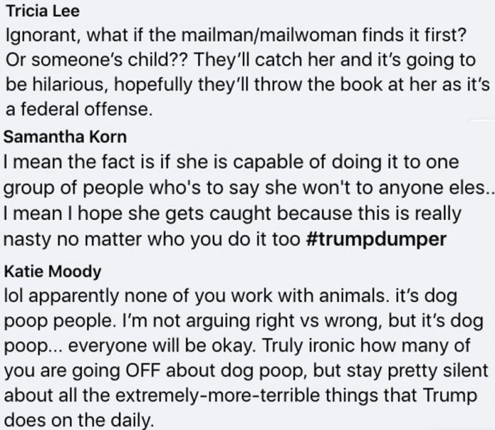 maine police hunting woman putting poop in trump supporters' mailboxes