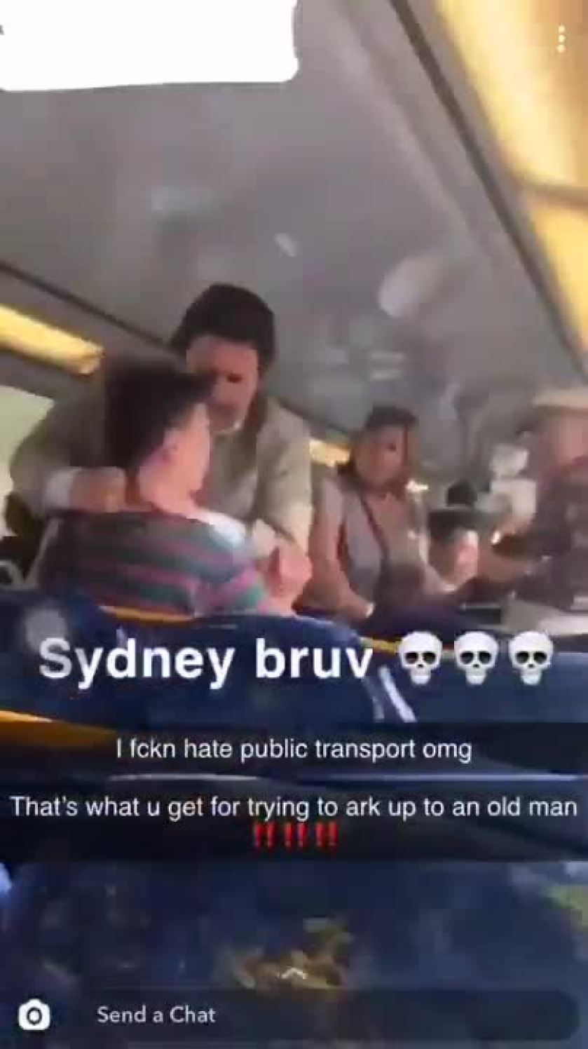 teenager threatens to 'crack' old man on sydney train, gets dealt with by other passengers