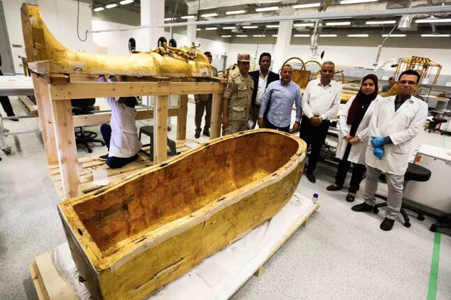 after 3,300 years, king tut's coffin has been removed from his tomb for the first time ever
