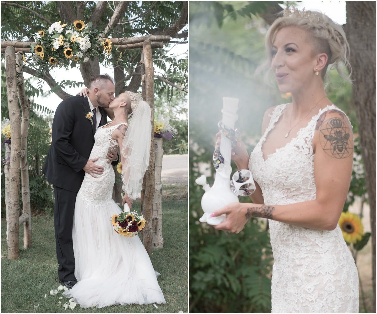 colorado couple throws weed-themed wedding with fully-stocked cannabis bar and edibles