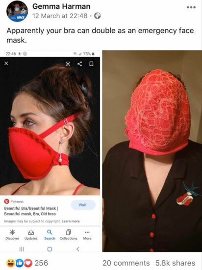 curvaceous mom shares hilarious results using bra for makeshift face mask