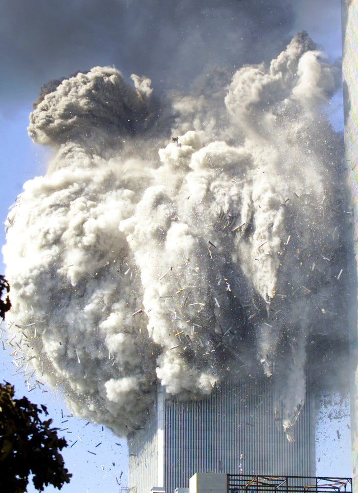 horrific video shows moment second plane hits world trade center towers on 9/11