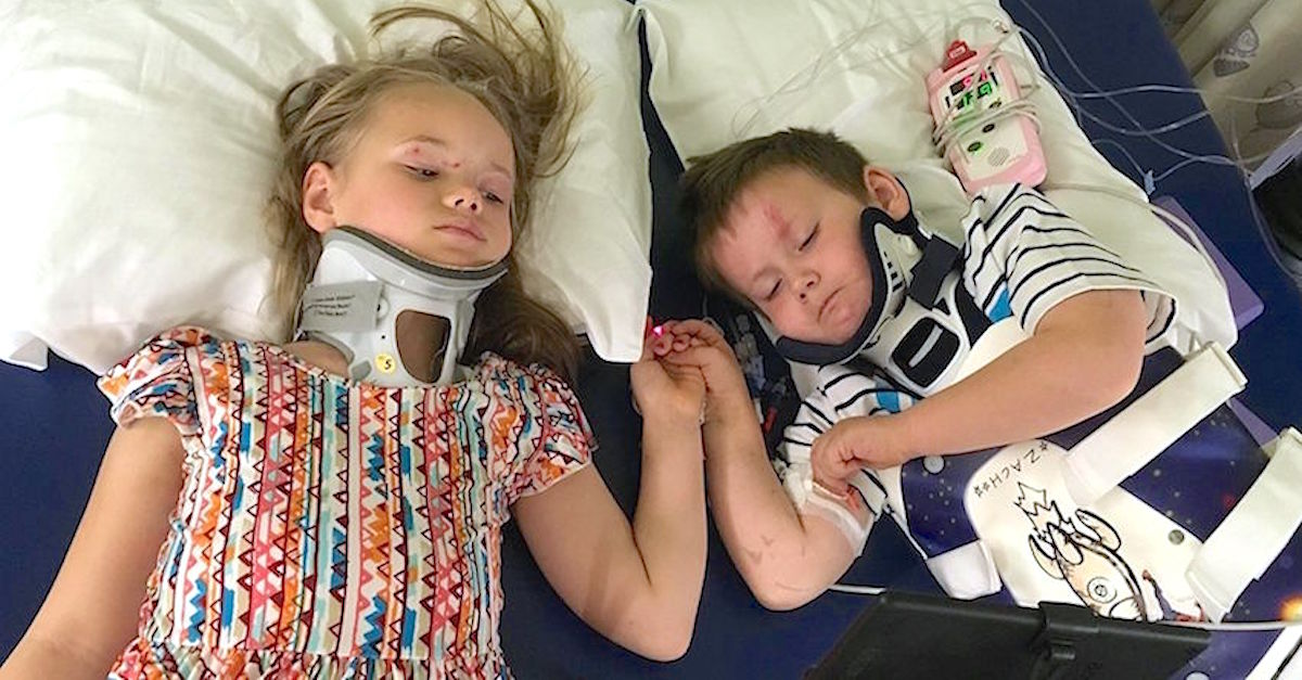 after horrific car crash kills parents and baby, orphaned siblings reunite and show sign of hope