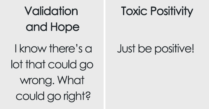 therapist shares helpful chart explaining the difference between support and 'toxic positivity'