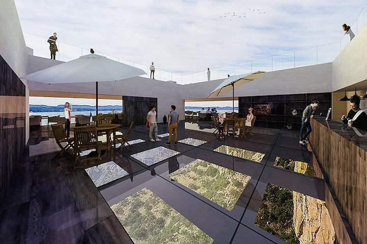 cliffside restaurant offers dining experience with breathtaking views of the valley below