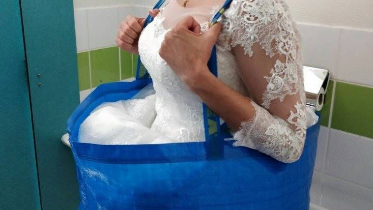 brides will never have to struggle in the bathroom again with simple ikea bag hack