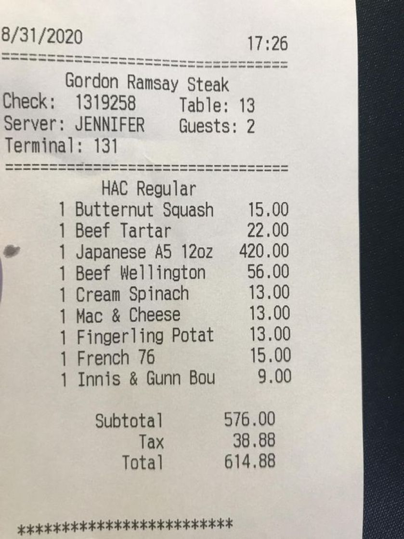man left with eye-watering bill after misreading menu at gordon ramsay steak