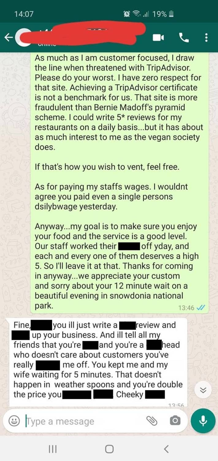 restaurant owner hits back at angry customer who threatens to slap him