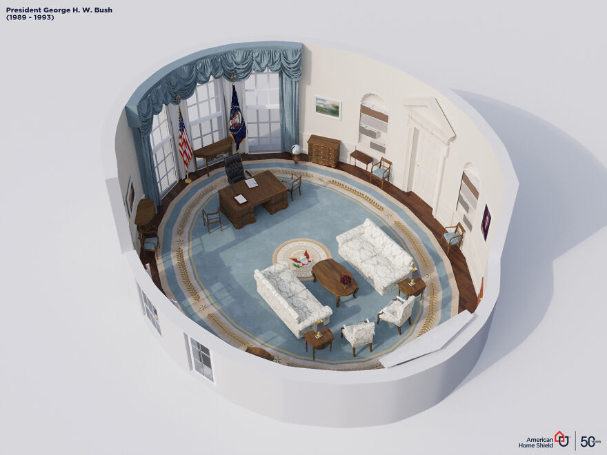 digital artists recreated the changes the oval office went through over the last 100 years