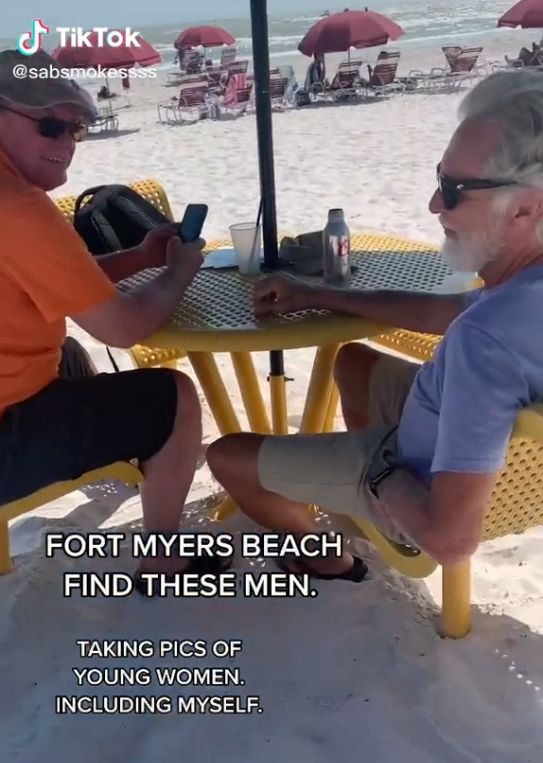 tiktok user confronts men taking pics of women at the beach