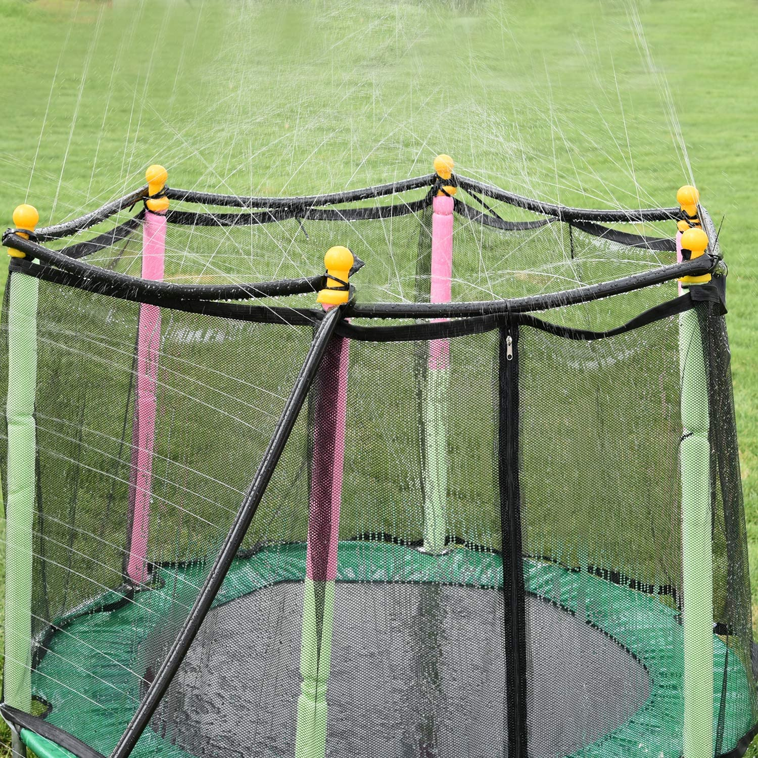 These Sprinkler Turn Your Trampoline Into A Splash Pad For Your Kids