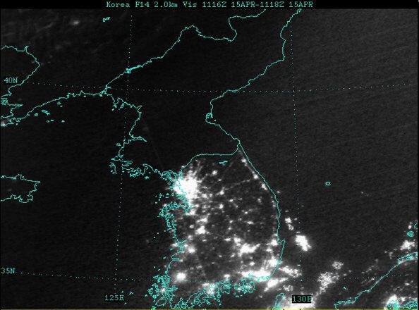 The Korean Peninsula at Night