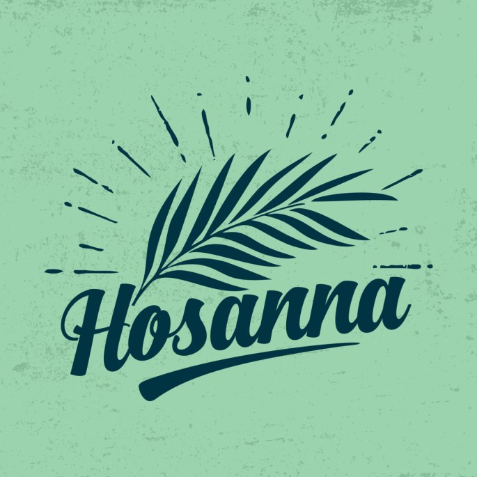 Palm branch with Hosanna written below it