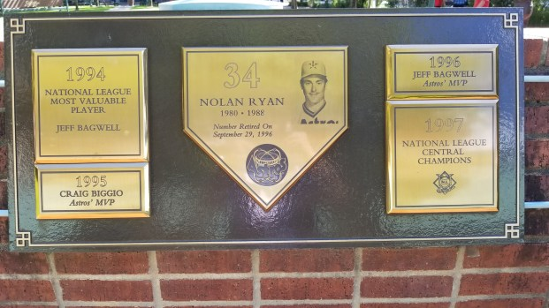 Some of the plaques outside the stadium