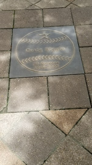 Craig Biggio plaque on the Astros walk of fame outside Minute Maid Park