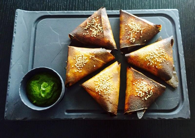 healthy samosas with mint chutney
