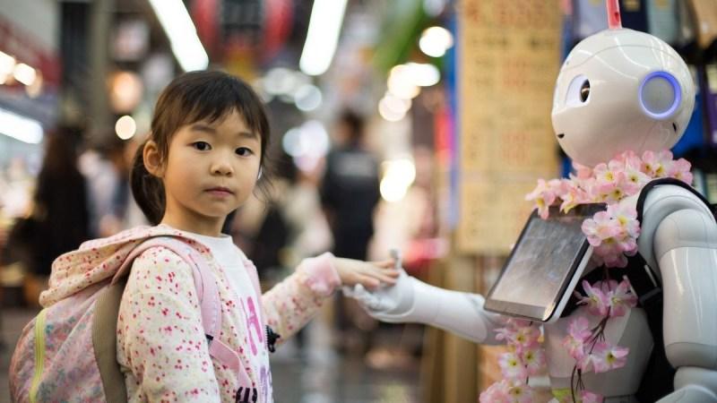 GIrl meeting a robot