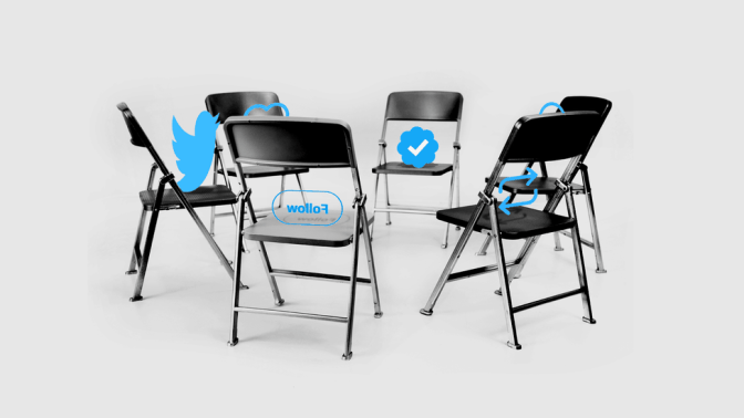 Circle of chairs with Twitter logos