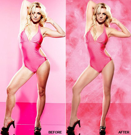 before and after Britney Spears airbrushed