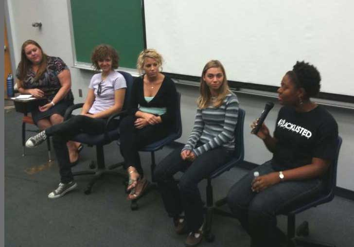 Student editors discussed tips for getting published with students in Writing for Mass Communication.